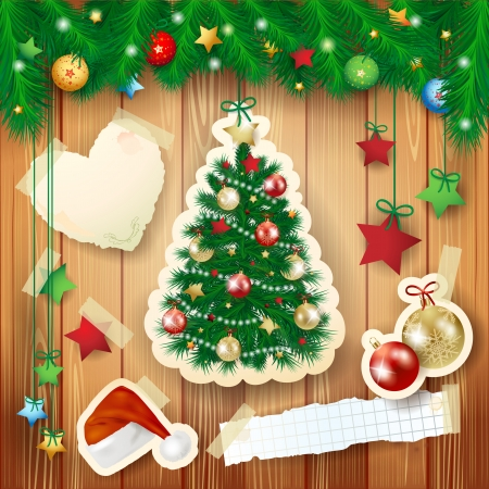 Christmas illustration with tree and paper elements