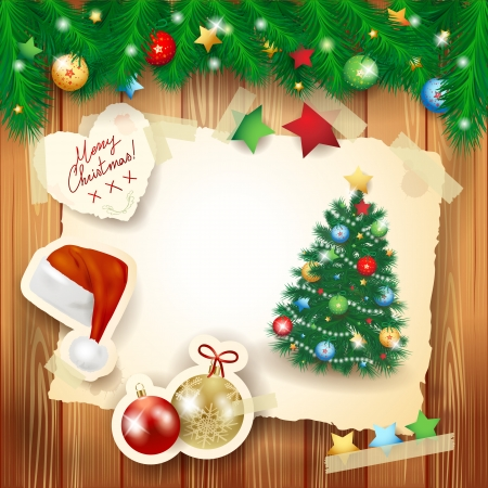 Christmas background with paper elements and fir Vector