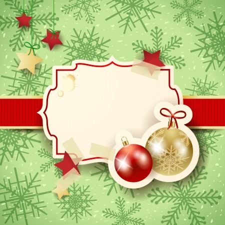 Christmas illustration with label and baubles Vector