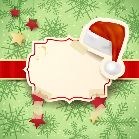 kerstmuts: Illustratie van Kerstmis met etiket en kerstmuts