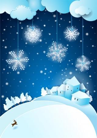 Christmas eve with snowfall Vector