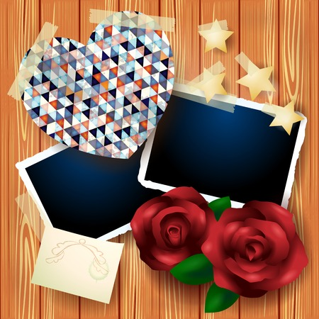 Vintage background with heart and roses  Vector