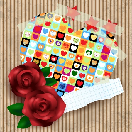 Heart and roses on cardboard background  Vector