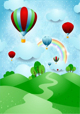 Hot air balloons over the hills