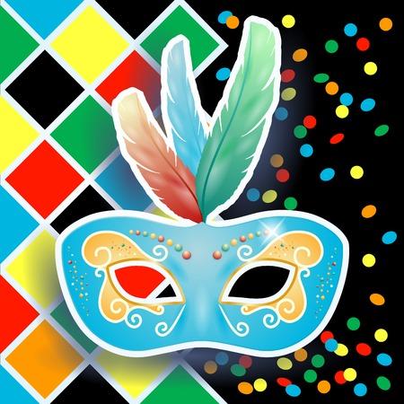 Carnival mask on harlequin background  Vector