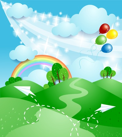 Spring landscape with rainbow  Vector