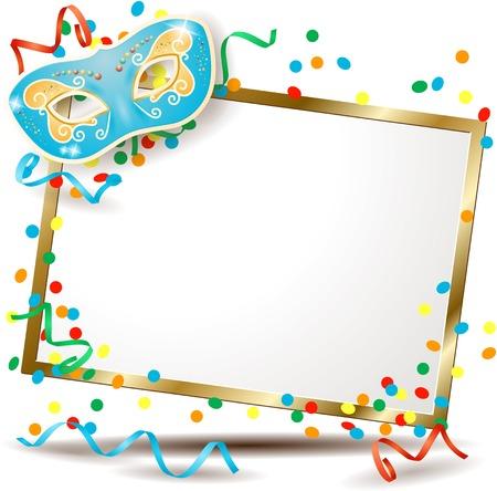 parade confetti: Letrero con la m�scara del carnaval, versi�n horizontal