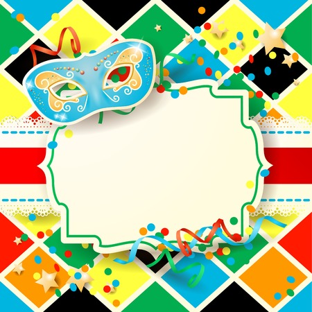 Carnival background with label and mask Vector