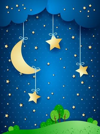 Countryside, fantasy illustration at night  Vettoriali