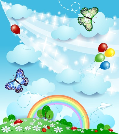 Spring background with butterflies, vector eps10 Vector