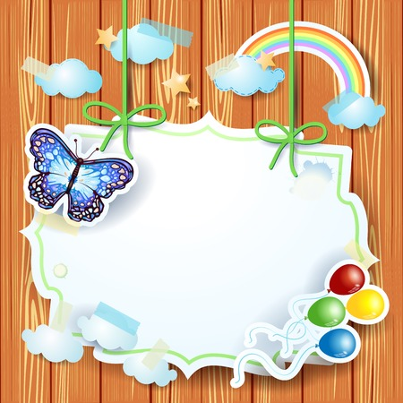 Spring background with label and butterfly  Vector eps10 Vector
