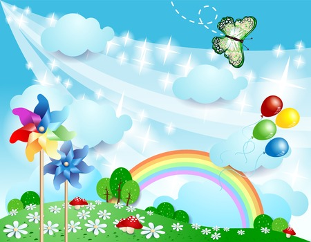 Spring background with pinwheels and butterfly  Vector eps10