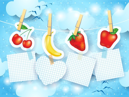 banana sheet: Fruits and labels on sky background, vector eps10
