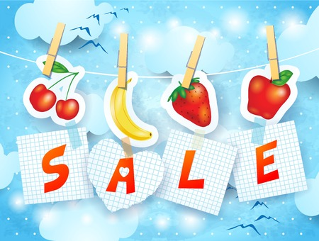 banana sheet: Sale on sky background, vector eps10 Illustration