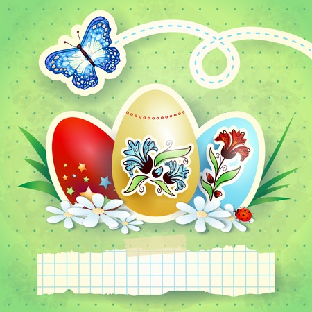 Easter background with eggs and butterfly, in green  Vector eps10 Vector