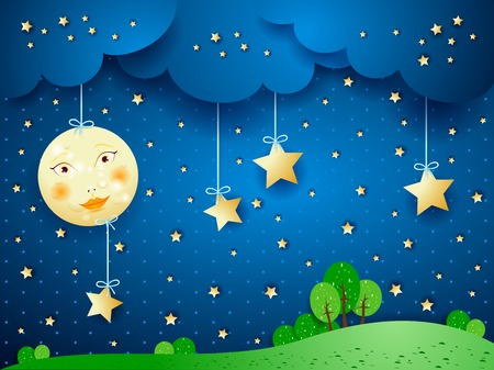 immagination: Countryside, fantasy illustration at night  Vector eps10