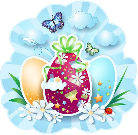 easter background: Easter background with eggs and butterflies   Illustration