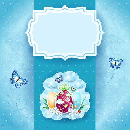 easter background: Easter background with label, eggs and butterflies