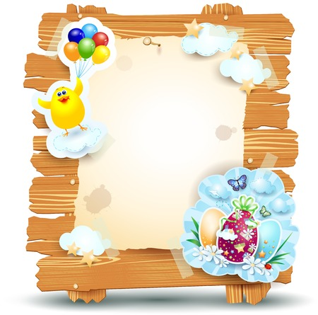 Easter signboard with chick and eggs isolated on white  Vector