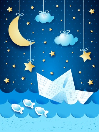 Fantasy seascape with paper boat, by night   Illustration