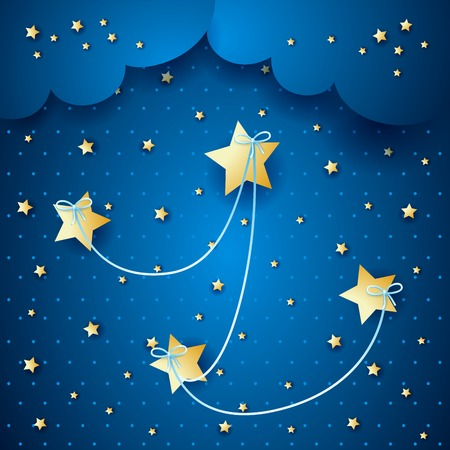 linked: Stars linked on sky background, vector eps10