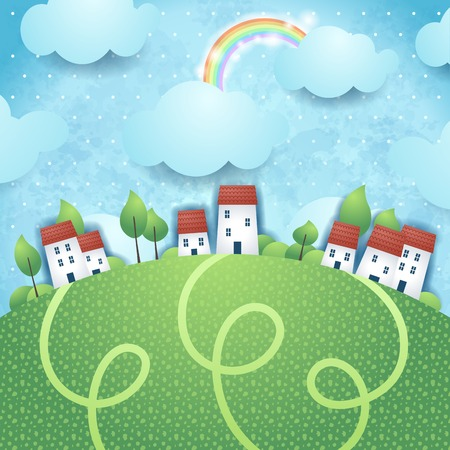 Fantasy landscape with village, vector eps10 Vector