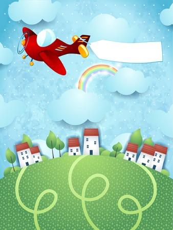 Fantasie landschap met vliegtuig en banner, vector eps10