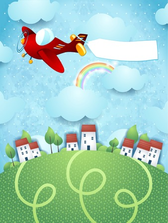 Fantasy landscape with plane and banner, vector eps10