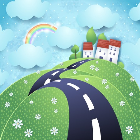hilly: Fantasy landscape with hilly road, vector eps10 Illustration