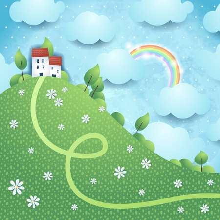 Fantasy landscape with rainbow Vector
