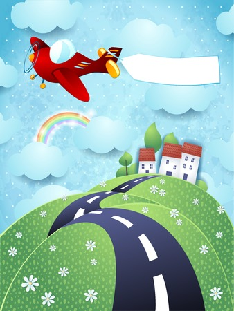Fantasy landscape with airplane and blank banner Vector
