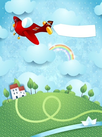 Fantasy landscape with airplane Vector
