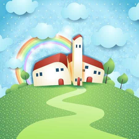 rural house: Fantasy landscape with village Illustration