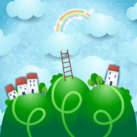 rainbow scene: Fantasy landscape with village and rainbow Illustration