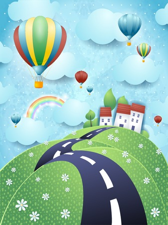 Fantasy landscape with road and hot air balloons Illustration