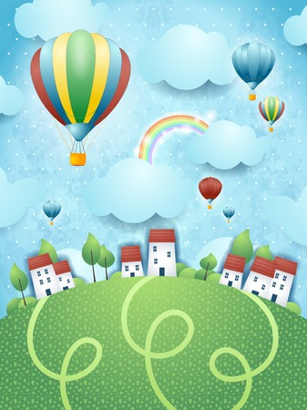 Fantasy landscape with hot air balloons, vector eps10 Stock Illustratie