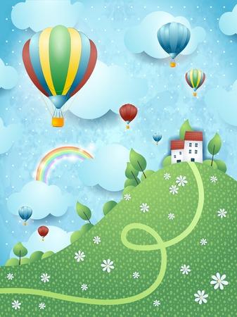 field and sky: Paesaggio di fantasia con la collina e mongolfiere Vettoriali