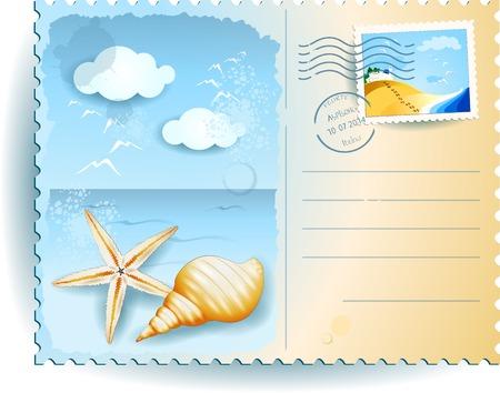 starfish on beach: Holidays on the beach Illustration