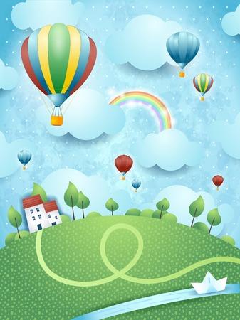 Paisaje de la fantasía con los globos de aire caliente y el río