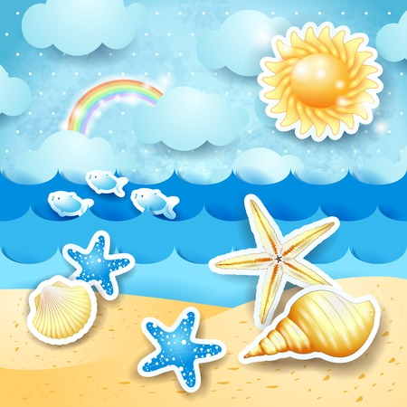 Seascape with sun and seashells, vector eps10