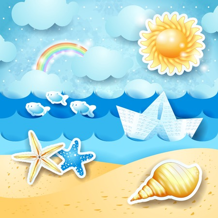 Seascape with sun, seashells and paper boat  Vector  Vector