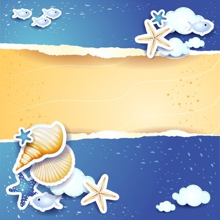 Holidays background with sea and sand, vector Vector