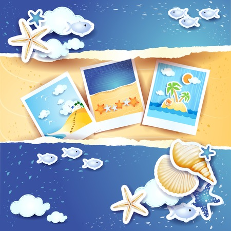 Holidays background with paper elements and photos, vector eps10 Vector