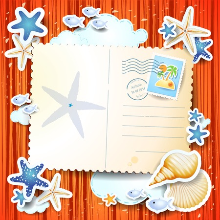 starfish on beach: Holidays background with postcard, vector
