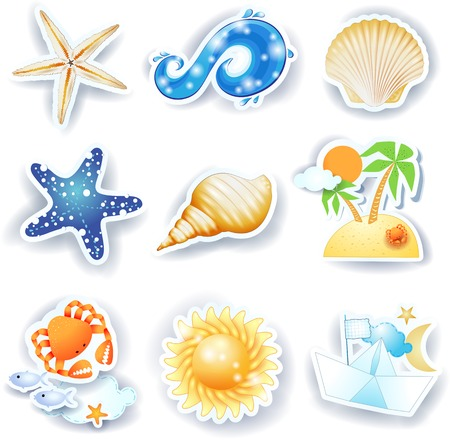 moon fish: Holidays on the beach, set of vector icons