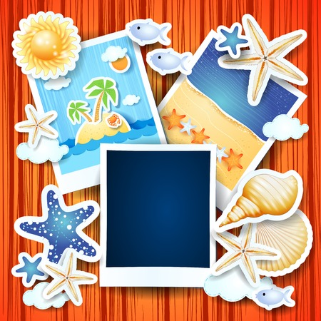 Holidays background with photo frames, vector