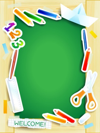 School background on green board   Vector