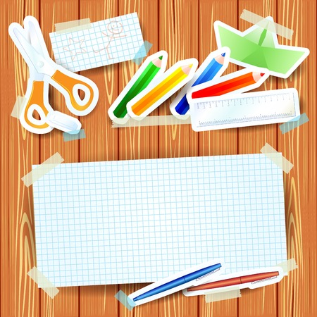 School background with paper elements and blank paper Vector