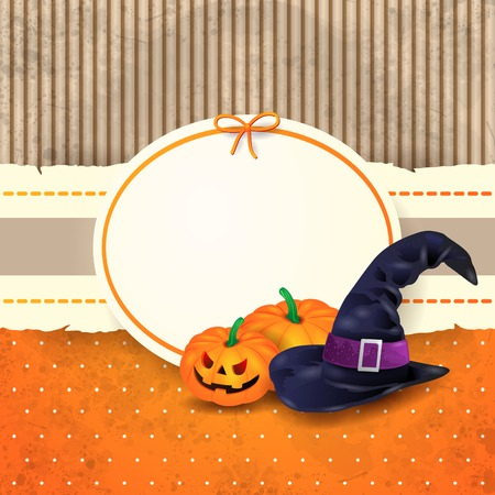 Halloween background with label, pumpkins and hat.