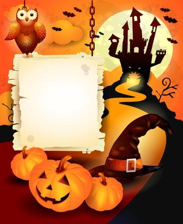 Halloween background with sign, in orange. Vector eps10 Vector